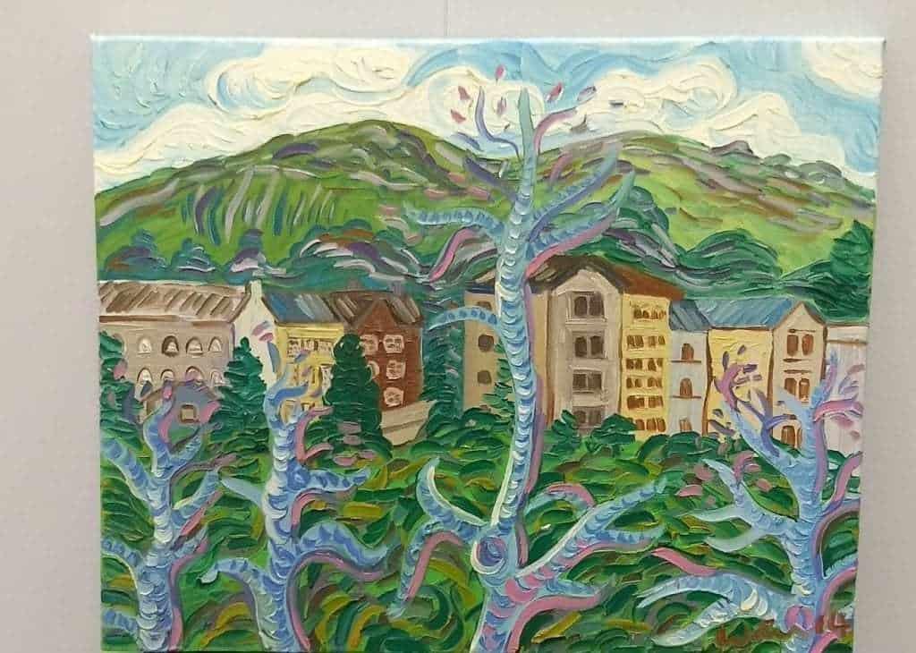Kirsty Wain 'Buildings below the Malvern hills'