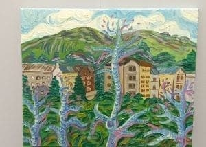 Kirsty Wain 'Buildings below the Malvern hills' 1