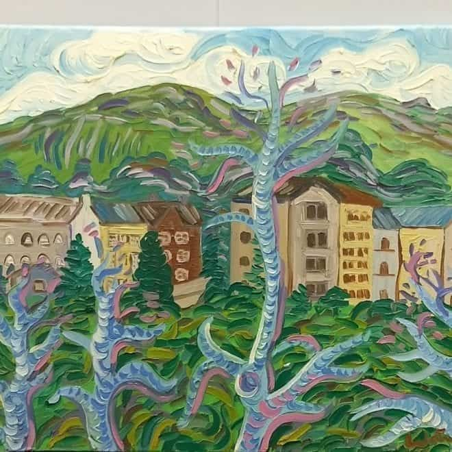 Kirsty Wain 'Buildings below the Malvern hills'
